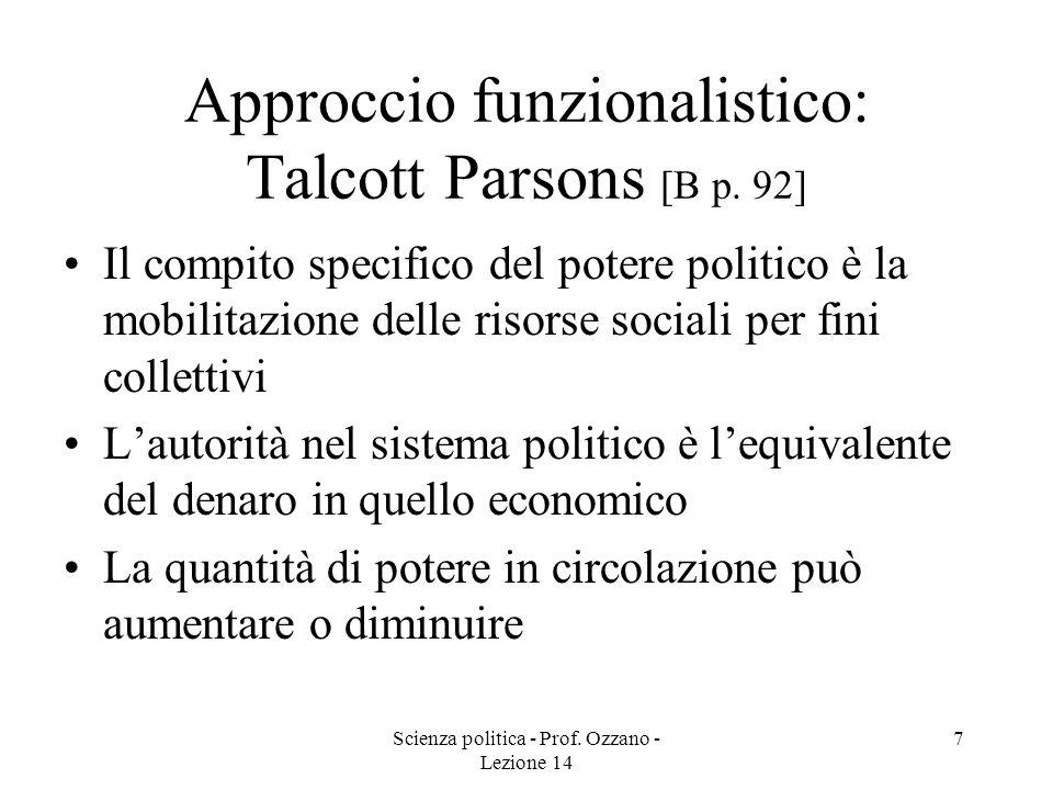 Approccio funzionalistico: Talcott Parsons [B p. 92]